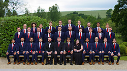 CARDIFF, WALES - Wednesday, June 1, 2016: Wales players line up for a team group photograph with xxxx and xxxx from sponsor xxxx at the Vale Resort Hotel ahead of the UEFA Euro 2016 Championships in France. Back row L-R: George Williams, Ethan Ampadu, David Vaughan, goalkeeper Chris Maxwell, goalkeeper Daniel Ward, goalkeeper Wayne Hennessey, goalkeeper Owain Fon Williams, Wes Burns, Tyler Roberts, George Williams. Middle row L-R: Paul Dummett, Simon Church, Andy King, Ashley 'Jazz' Richards, Sam Vokes, James Collins, Ben Davies, James Chester, David Cotterill, David Edwards. Front row L-R:  Neil Taylor, Hal Robson-Kanu, Joe Ledley, Gareth Bale, assistant manager Osian Roberts, manager Chris Coleman, captain Ashley Williams, Aaron Ramsey, Chris Gunter, Joe Allen. (Pic by David Rawcliffe/Propaganda)