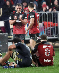 Crusaders Israel Dagg, left, and Crusaders Bryn Hall celebrate their team's victory against the Highlanders in the Super Rugby quarter final match, AMI Stadium, Christchurch, New Zealand, July 22 2017.  Credit:SNPA / Adam Binns ** NO ARCHIVING**
