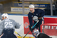KELOWNA, BC - SEPTEMBER 22:  Sam Gagner #89 of the Edmonton Oilers stands behind the net during practice at Prospera Place on September 22, 2019 in Kelowna, Canada. (Photo by Marissa Baecker/Shoot the Breeze)