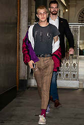 Anwar Hadid is leaving Tod's show room after a fitting during Milan Fashion Week Spring/Summer 2019 on September 20, 2018 in Milan, Italy. Photo by Marco Piovanotto/ABACAPRESS.COM