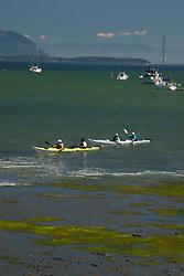 Kayakers off Sucia Island, San Juan Islands, Washington, US