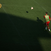 Members of Toronto FC's Ryan Richter warms up before a friendly against Wilmington Hammerheads FC Wednesday June 18, 2014 at Legion Stadium in Wilmington, N.C. (Jason A. Frizzelle)