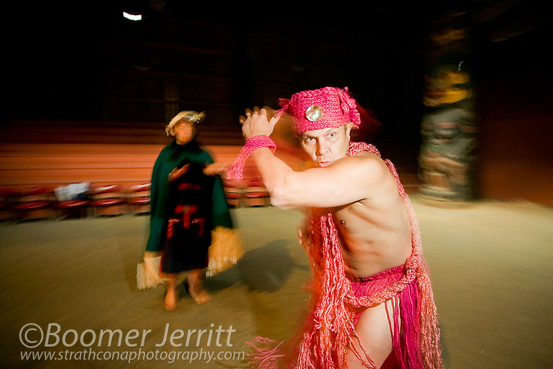 A young first nations dancer performs the Hamatsa or wildman of the woods.  Fort Rupert, Northern Vancouver Island, British Columbia, Canada.