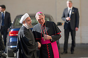 Vatican City jan 26th 2016, pope's audience to the president of Islamic Republic of Iran. In the picture Hassan Rouhani, Georg Gaenswein