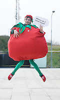 "Donal Egan from Roscommon Community College as a tomato  at the national finals of the ""FIRST LEGO League 2012"", sponsored by SAP . The theme for this year's competition was food safety and 24 teams from all over the country took part. Photo:Andrew Downes"