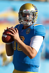 Dec 31, 2011; San Francisco CA, USA; UCLA Bruins quarterback Nick Crissman (18) warms up before the game against the Illinois Fighting Illini at AT&T Park. Illinois defeated UCLA 20-14. Mandatory Credit: Jason O. Watson-US PRESSWIRE