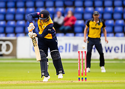 Cameron Delport of Essex edges to Chris Cooke of Glamorgan off the bowling of Graham Wagg<br /> <br /> <br /> Photographer Simon King/Replay Images<br /> <br /> Vitality Blast T20 - Round 8 - Glamorgan v Essex - Friday 9th August 2019 - Sophia Gardens - Cardiff<br /> <br /> World Copyright © Replay Images . All rights reserved. info@replayimages.co.uk - http://replayimages.co.uk
