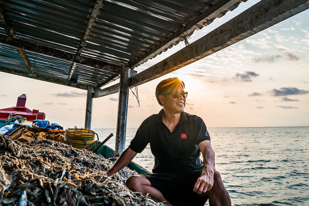 Cuong Pham, owner and founder of Red Boat fish sauce, on his boat off the coast of Phu Quoc Island, Vietnam.