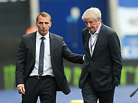 Football - 2019 / 2020 Premier League - Leicester City vs Crystal Palace<br /> <br /> Leicester manager, Brendan Rogers and Palace manager, Roy Hodgson after the coin toss for the match, at the King Park Stadium<br /> <br /> COLORSPORT/ANDREW COWIE