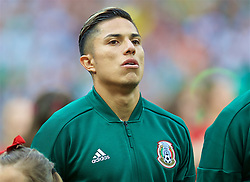 MOSCOW, RUSSIA - Sunday, June 17, 2018: Mexico's Carlos Salcedo sings the national anthem before the FIFA World Cup Russia 2018 Group F match between Germany and Mexico at the Luzhniki Stadium. (Pic by David Rawcliffe/Propaganda)