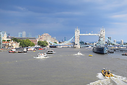 HMS Belfast & Tower Bridge, London UK July 2016