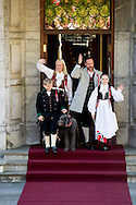 17-5-2016 asker Skaugum NORWAY National Feast day King Harald, Queen Sonja, Crownprince Haakon, Crownprincess Mette-Marit, Princess Ingrid Alexandra, Prince Sverre Magnus of Norway celebrate the National Day at the Royal Palace in Oslo, Norway, 17 May . and Marius Borg Hoiby and dog Milly celebrating the national day at the residence in Skaugum, Norway. COPYRIGHT ROBIN UTRECHT