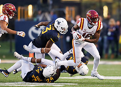 Nov 4, 2017; Morgantown, WV, USA; Iowa State Cyclones wide receiver Hakeem Butler (18) catches a pass during the fourth quarter against the West Virginia Mountaineers at Milan Puskar Stadium. Mandatory Credit: Ben Queen-USA TODAY Sports