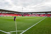 A General view of the Keepmoat Stadium with a Rainbow laces campaign corner flag before the The FA Cup match between Doncaster Rovers and Scunthorpe United at the Keepmoat Stadium, Doncaster, England on 3 December 2017. Photo by Craig Zadoroznyj.