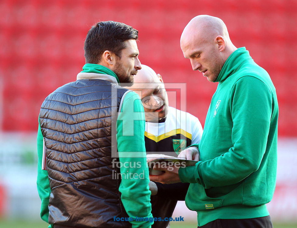 Russell Martin of Norwich and John Ruddy of Norwich before the Sky Bet Championship match at the AESSEAL New York Stadium, Rotherham<br /> Picture by Paul Chesterton/Focus Images Ltd +44 7904 640267<br /> 14/01/2017
