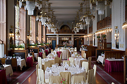 Interior of Art Nouveau  Francouzska restaurant in Obecni Dum or Municipal House in Prague in Czech Republic