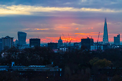 London, November 30 2017.The sun rises over the London skyline, seen from Primrose Hill, on a chilly London morning when overnight temperatures plunged to below freezing. © Paul Davey