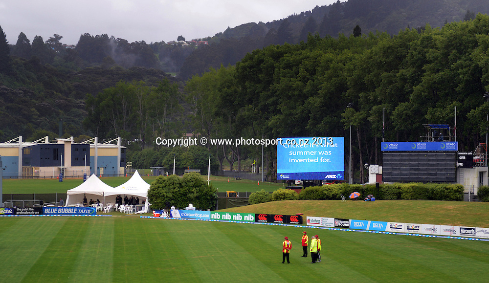 General view of a wet University Oval on Day 5 of the 1st cricket test match of the ANZ Test Series. New Zealand Black Caps v West Indies at University Oval in Dunedin. Saturday 7 December 2013. Photo: Andrew Cornaga/www.Photosport.co.nz