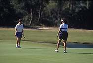 Nancy Lopez wins for USA <br /> The inaugural Solheim Cup competition took place in Orlando, Florida, United States at Lake Nona Golf &amp; Country Club from November 16 to November 18, 1990. The United States team beat the European team 11&frac12; points to 4&frac12;.<br /> beating Alison Nicholas<br /> <br /> Picture Credit:  Mark Newcombe / www.visionsingolf.com