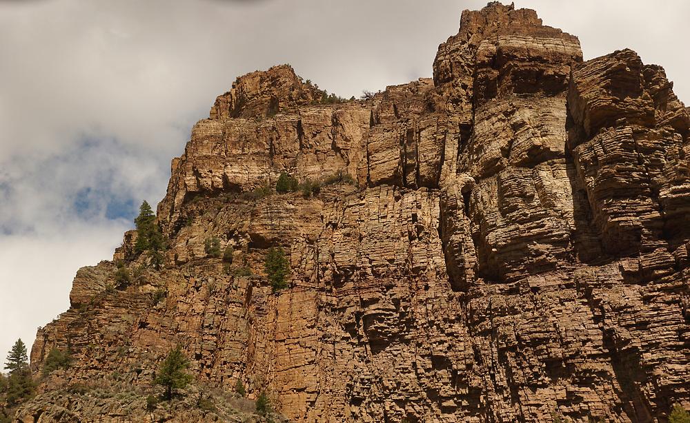 Amtrak Zephyr landscape view o Glenwood Springs, Colorado, rock canyon, White River National Forest