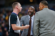 INDIANAPOLIS, IN - DECEMBER 31: Lloyd Pierce of the Atlanta Hawks talks with NBA referee Justin Van Duyne #64 during the game against the Indiana Pacers at Bankers Life Fieldhouse on December 31, 2018 in Indianapolis, Indiana. NOTE TO USER: User expressly acknowledges and agrees that, by downloading and or using this photograph, User is consenting to the terms and conditions of the Getty Images License Agreement. (Photo by Michael Hickey/Getty Images) *** Local Caption *** Lloyd Pierce; Justin Van Duyne