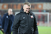 Brentford Head Coach Dean Smith looking down at the ground during the EFL Sky Bet Championship match between Brentford and Aston Villa at Griffin Park, London, England on 31 January 2017. Photo by Matthew Redman.