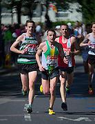 London. United Kingdom. 2014 London Marathon.  Narrow Street Limehouse, East London. Athletics 11:17:42  Sunday  13/04/2014  [Mandatory Credit; Peter SPURRIER/ Intersport Images],
