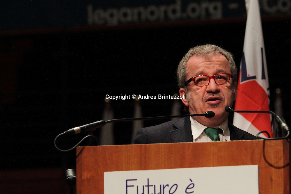 Torino 15 Dicembre 2013. Lingotto Fiere Congresso Federale Lega Nord Padania.<br /> Roberto Maroni