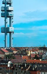 CZECH REPUBLIC PRAGUE JUL00 - The Television tower dominates the skyline over Prague's Zizkov district, a traditional workers stronghold and major settlement area for Prague's Romany population...jre/Photo by Jiri Rezac...© Jiri Rezac 2000..Tel:   +44 (0) 7050 110 417.Email: info@jirirezac.com.Web:   www.jirirezac.com