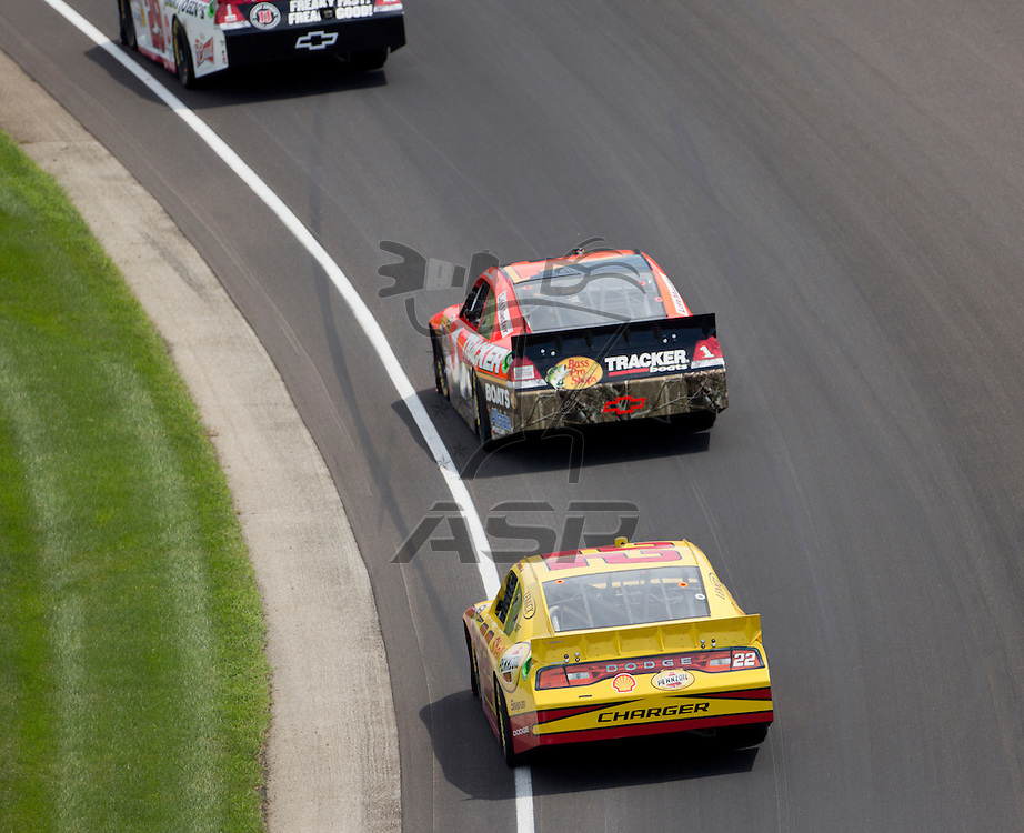 INDIANPOLIS, IN - JUL 29, 2012:  Jamie McMurray (1) and A.J. Almendinger (22) brings their cars through the turns during the Curtiss Shaver 400 presented by Crown Royal Sprint Cup Series race at the Indianapolis Motor Speedway in Indianapolis, IN.