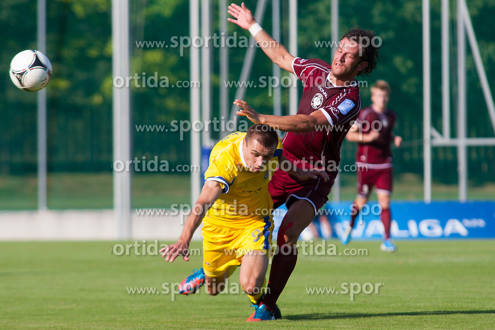Zolic Edvin of NK Triglav & Vuk Goran of NK Domzale during football match between NK Triglav Kranj and NK Domzale, 5th Round of Prva Liga, on 12 August, 2012, in Sportni center, Kranj, Slovenia. (Photo by Grega Valancic / Sportida)