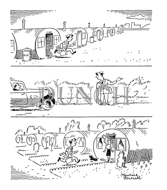 (A demobbed soldier races from a Nissen hut in an army camp, hitches a lift, and arrives at his home in another Nissen Hut)