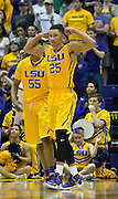 Ben Simmons(25) of LSU shows muscle after a strong move to the basket. LSU defeats Texas A&M 76-71 in Baton Rouge, Louisiana. Photo BY: Jerome Hicks/ Space City Images