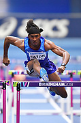 Jarret Eaton (USA) clears a hurdle as he finished second in   his Semi Final of the Men's 60m Hurdles in a time of 7.58 during the final session of the IAAF World Indoor Championships at Arena Birmingham in Birmingham, United Kingdom on Saturday, Mar 2, 2018. (Steve Flynn/Image of Sport)