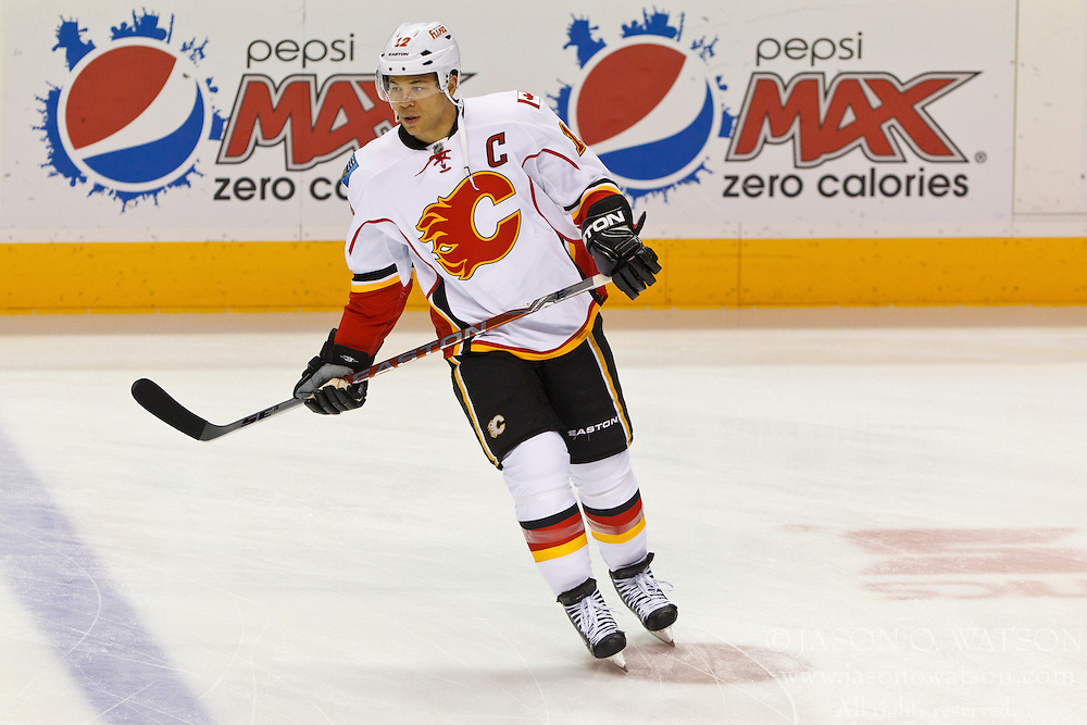 Jan 17, 2012; San Jose, CA, USA; Calgary Flames right wing Jarome Iginla (12) warms up before the game against the San Jose Sharks at HP Pavilion. San Jose defeated Calgary 2-1 in shootouts. Mandatory Credit: Jason O. Watson-US PRESSWIRE