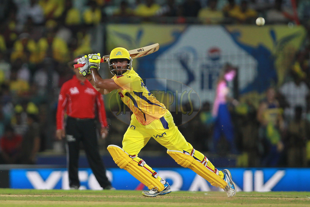 Ravindra Jadeja during match 19 of the Pepsi Indian Premier League between The Chennai Super Kings and the Pune Warriors India held at the MA Chidambaram Stadium in Chennai on the 15th April 2013. Photo by Jacques Rossouw-IPL-SPORTZPICS .. .Use of this image is subject to the terms and conditions as outlined by the BCCI. These terms can be found by following this link:..http://www.sportzpics.co.za/image/I0000SoRagM2cIEc