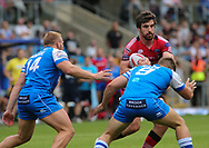 Brandon Moore and Ben Kaye of Halifax RLFC tackle Tyrone McCarthy of Salford Red Devils during the Super 8s The Qualifiers match at Mbi Shay Stadium, Halifax<br /> Picture by Stephen Gaunt/Focus Images Ltd +447904 833202<br /> 02/09/2018