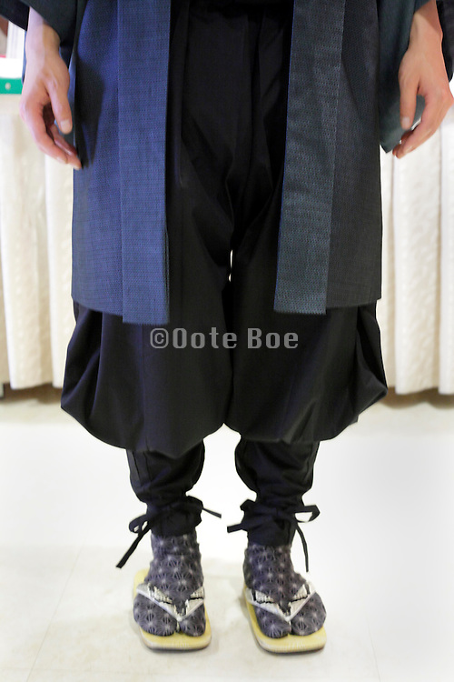 Japanese traditional styled men fashionable clothing with zori and tabi