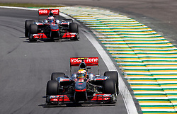Motorsports / Formula 1: World Championship 2010, GP of Brasil, 02 Lewis Hamilton (GBR, Vodafone McLaren Mercedes), 01 Jenson Button (GBR, Vodafone McLaren Mercedes),