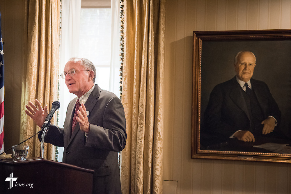 The Rev. Dr. Dean O. Wenthe, president of the Concordia University System, addresses guests at the Let's Talk Life, Marriage and Religious Liberty event on Tuesday, September 8, 2015, a the Capitol Hill Club in Washington, D.C. LCMS Communications/Erik M. Lunsford