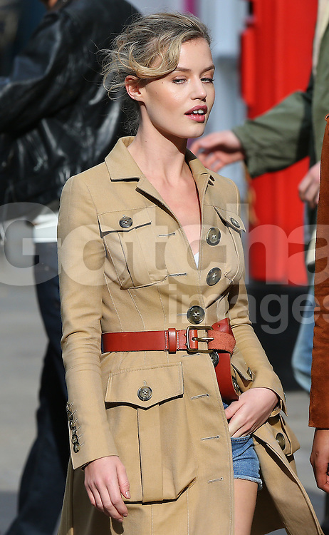 Georgia May Jagger onset of the new Rimmel London commercial. London, UK. 13/03/2015<br /> BYLINE MUST READ : JAMESY/GOTCHA IMAGES<br /> <br /> Copyright by &copy; Gotcha Images Ltd. All rights reserved.<br /> Usage of this image is conditional upon the acceptance <br /> of Gotcha Images Ltd, terms and conditions available at<br /> www.gotchaimages.com