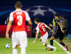 Laurent Koscielny #6 of Arsenal F.C. and El Arabi Hilal Soudani #2 of GNK Dinamo Zagreb during football match between GNK Dinamo Zagreb, CRO and Arsenal FC, ENG in Group F of Group Stage of UEFA Champions League 2015/16, on September 16, 2015 in Stadium Maksimir, Zagreb, Croatia. Photo by Urban Urbanc / Sportida