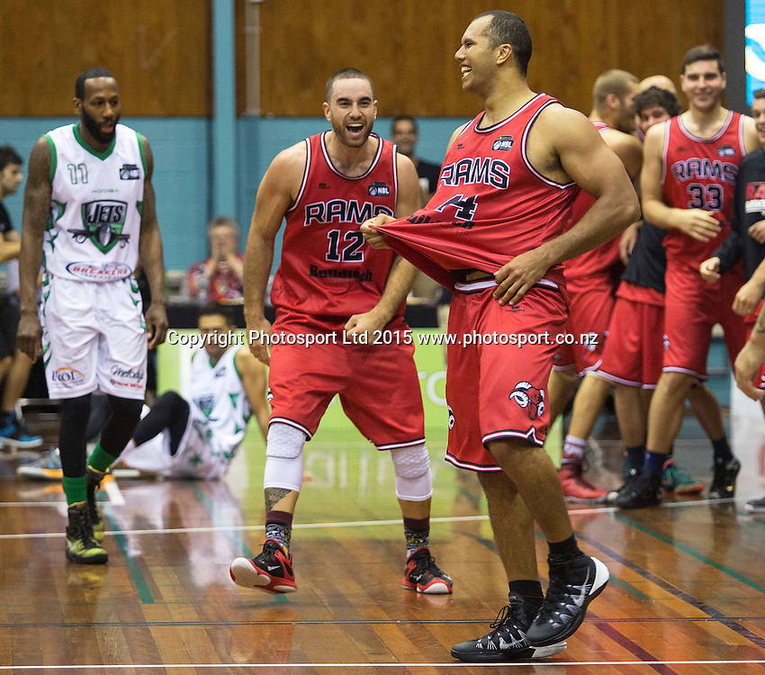 Marques Whippy of the Rams and Ethan Rusbatch celebrate the final shot during the National Basketball League game between the Canterbury Rams v Manawatu Jets at Cowles Stadium in Christchurch. 10th April 2015 Photo: Joseph Johnson/www.photosport.co.nz
