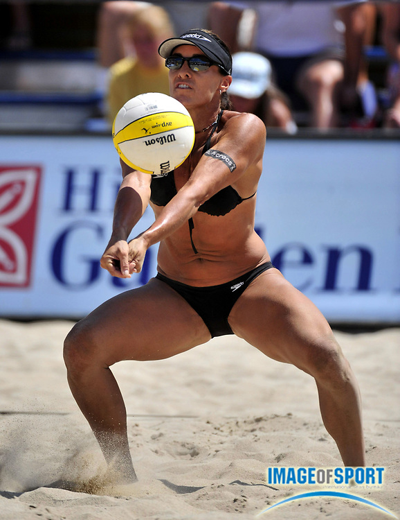 Jul 27, 2008; Long Beach, CA, USA; Holly McPeak digs the ball in the AVP Long Beach Open at Marina Green Park. Mandatory Credit: Kirby Lee/Image of Sport-US PRESSWIRE