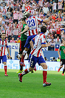 Atletico de Madrid´s Joao Miranda and Athletic Club´s  during 2014-15 La Liga match between Atletico de Madrid and Athletic Club at Vicente Calderon stadium in Madrid, Spain. May 02, 2015. (ALTERPHOTOS/Luis Fernandez)