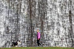 © Licensed to London News Pictures. 20/03/2019. Derwent UK. A lady walks her dog past the water overflowing Derwent dam in the Upper Derwent Valley, Derbyshire this morning. Photo credit: Andrew McCaren/LNP