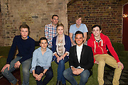 London, UK. Former member of pop-rock bands Busted and Son of Dork James Bourne and writer and composer Elliot Davis introduce the cast of their original British musical LOSERVILLE. Premiering at the West Yorkshire Playhouse, Leeds. Picture shows: the cast (front l-r) Richard Lowe (Lucas), Aaron Sidwell (Michael), Eliza Hope Bennett (Holly), Gareth Gates (Eddie), Lil' Chris (Francis), Back l-r) writers Elliot Davis and James Bourne.