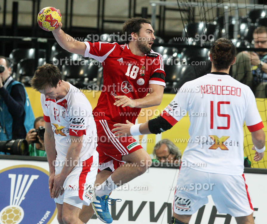 12.01.2013 Barcelona, Spain. IHF men's world championship, Quarter-Final. Picture show Kornel Nagy   in action during game between Denmark vs Hungary at Palau ST Jordi (Photo by Sportida Photo Agency)