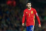 GRANADA, SPAIN - NOVEMBER 12:  Alvaro Morata of Spain looks on during the FIFA 2018 World Cup Qualifier between Spain and FYR Macedonia at  on November 12, 2016 in Granada, .  (Photo by Aitor Alcalde Colomer/Getty Images)