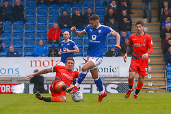 Adam El-Abd of Wycombe Wanderers tackles Bradley Barry of Chesterfield - Mandatory by-line: Ryan Crockett/JMP - 28/04/2018 - FOOTBALL - Proact Stadium - Chesterfield, England - Chesterfield v Wycombe Wanderers - Sky Bet League Two